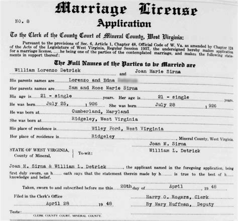 West Virginia Marriage License Records Moving On To Grandparents