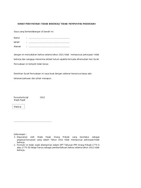 formulir contoh surat pernyataan tidak bekerja bagi wp