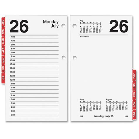 at a glance monthly tabs daily desk calendar refill