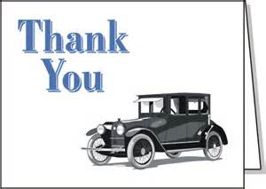 thank you card with car