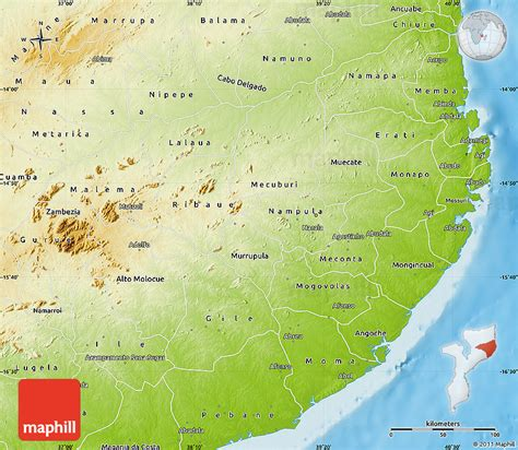 physical map of mozambique physical map of nula