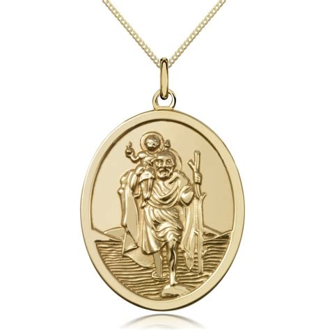 st christopher oval pendant 9ct yellow gold can be