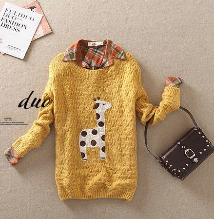 giraffe pattern clothes yellow cute giraffe pattern sweater deepblue clothing