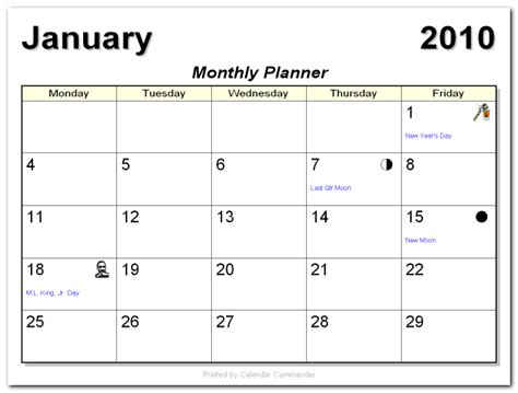 5 day weekly calendar template monthly calendars