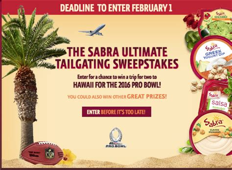 Pro Bowl Sweepstakes - enter to win tickets to the 2016 nfl pro bowl get a 1 sabra coupon