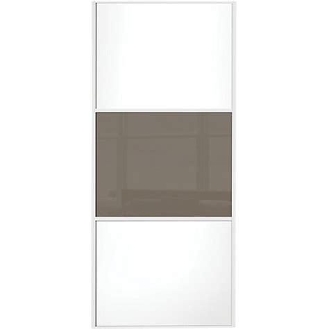 wickes wardrobe doors wickes sliding wardrobe door wideline white panel cappuccino glass 2220 x 610mm wickes co uk