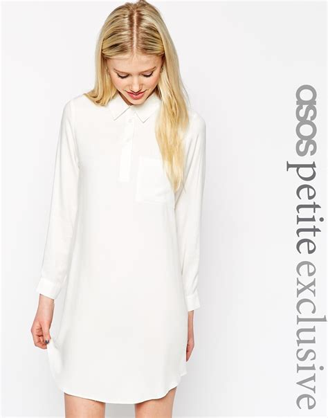 swing shirt dress asos swing shirt dress with long sleeve in natural lyst