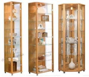 oak glass display cabinet single corner display