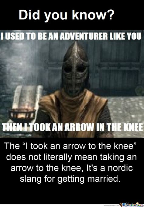 Arrow To The Knee Meme - they never actually took a real arrow to the knee by