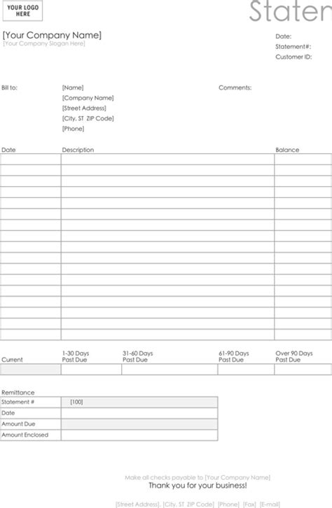 billing forms templates billing statement template for excel pdf and word