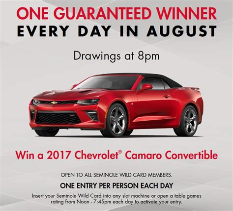 Car A Day Giveaway - seminole hard rock hotel casino august car a day giveaway ta fl aug 1 2017