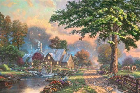 new painting free simpler times kinkade painting kinkade painting
