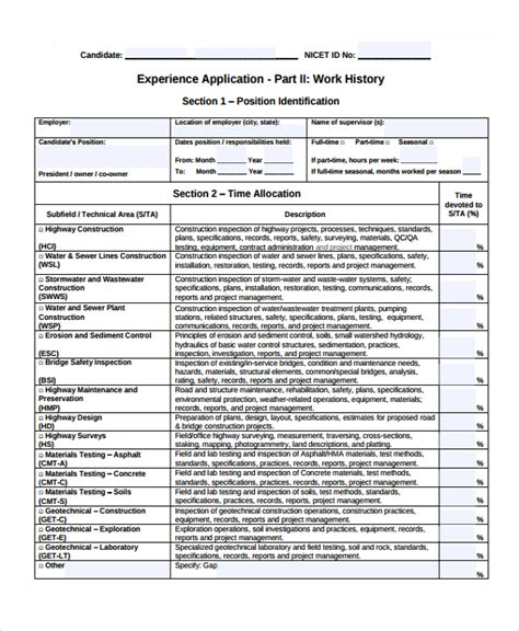 Sample Work History Template   9  Free Documents Download