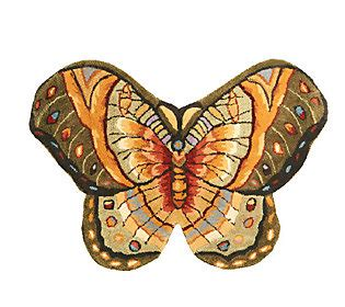 large butterfly rug royal palace bold butterfly 2 2 quot x 3 2 quot handmade wool rug h195315 qvc