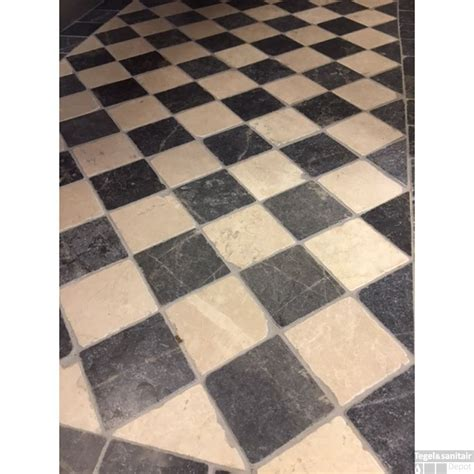 sierstrip tegels natuursteen tegels dambord vloer beige marmer en turks