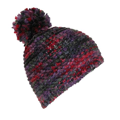womens multicolored knit beanie with pom pom hat by ctm