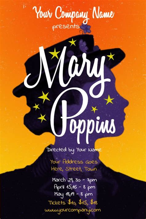 Broadway Poster Template poppins play poster template click to customize