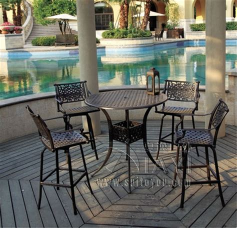 Outdoor Bar Table And Chairs 5 Bar Table And Chair Cast Aluminum Garden Furniture Outdoor Furniture In Garden Sets From