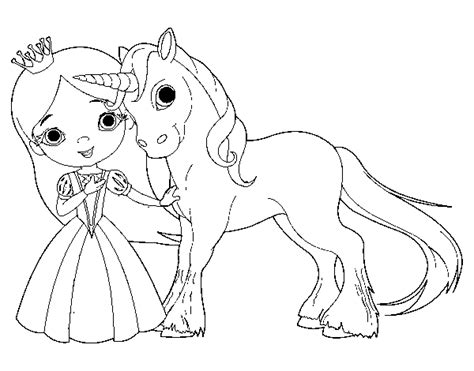 coloring pages princess unicorn unicorn and princess coloring page coloringcrew com