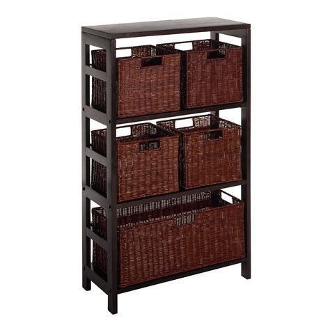 Basket Storage Furniture by Winsome Wood 92625 Leo Decorative Storage Cabinet With