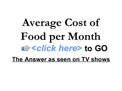 average cost of food average cost of food per month