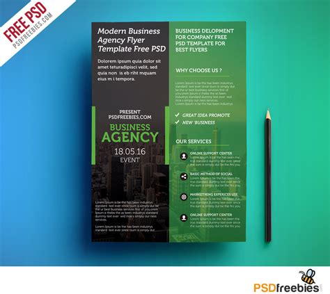 Modern Business Agency Flyer Template Free Psd Psdfreebies Com Flyer Template Free