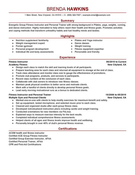 Sample Resume Skills Profile Examples by Fitness And Personal Trainer Resume Example Personal