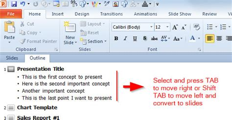 Powerpoint Outline Tab by Quickly Create Slides From The Outline Pane In Powerpoint 2010