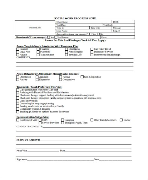 sle progress note template for school counselor