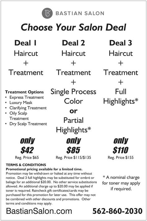 Price Promos An Unfortunately Named by We Are Pleased To Announce Bastian Salon Deals Affordable