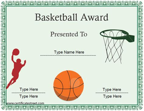 sports certificates basketball certificate
