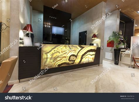 marble reception desk marble reception desk hotel stock photo 190478216