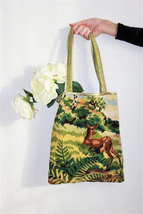 Tas Mote Handmade Orange Gold tote bag in vintage canevas deer bags design and