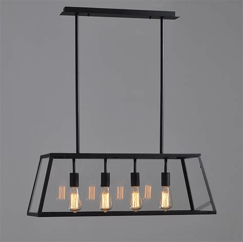 Modern Vintage Industrial Black Dining Room 4 Heads Metal Dining Room Pendant Light Fixtures