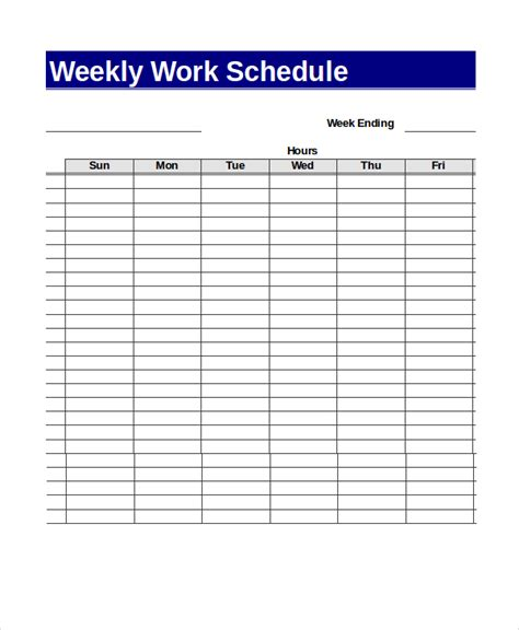 weekly work plan template excel 13 sle excel schedule templates free exle