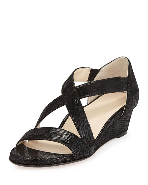 wedge sandals lyst saraia low wedge sandals in black