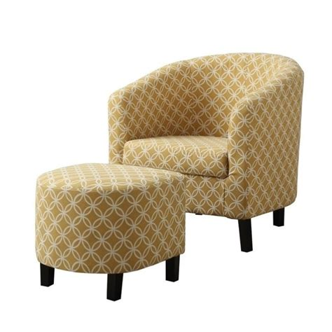 upholstered chair and ottoman upholstered accent arm chair and ottoman in yellow