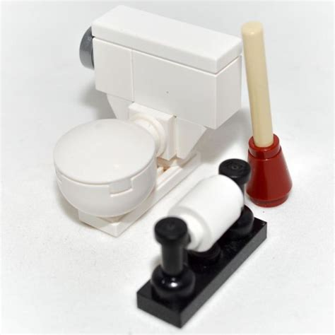 lego custom toilet bowl bathroom set  plunger toilet paper minifigure lego furniture