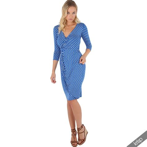 V Pleated Top Nf39 1 womens polka dot v neck top 3 4 sleeve pleated skirt wrap