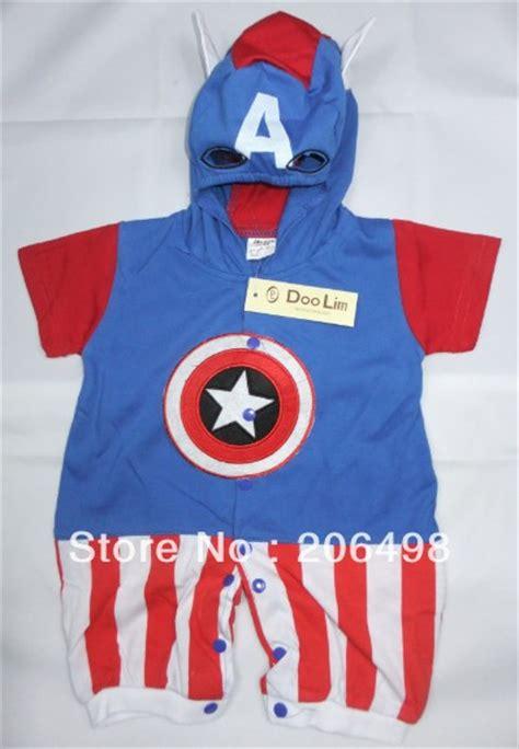 Romper Hoodie Captain America 1 cotton 6m 24 months baby captain america modelling crawl