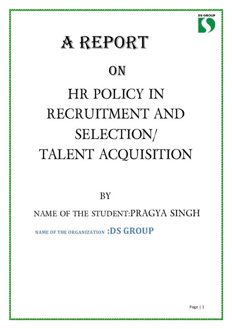 Talent Acquisition Project For Mba sip project report