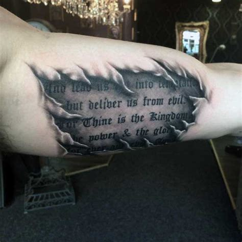 inner bicep quote tattoos for men 50 ripped skin designs for manly torn flesh ink