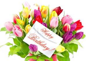 happy birthday flowers pictures happy birthday colorful bouquet of fresh tulips with card
