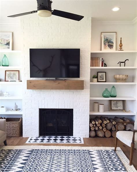i this simple fireplace mantle and shelves