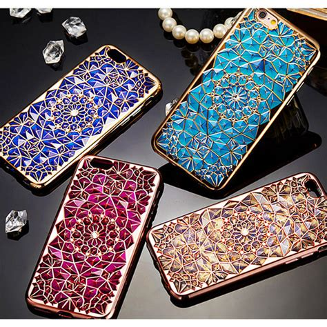 Iphone 6 Plus 6 Luxury Plating Flower Diamonds Soft Limited diamonds phone cases luxury blue gold plating 3d