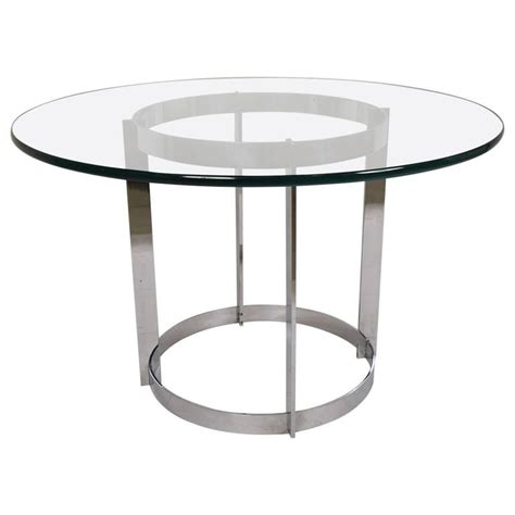 glass center table mid century modern circular glass and chrome center table