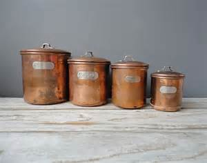 Copper Canister Set Kitchen Set Of Copper Nesting Kitchen Canisters By Oceanswept On Etsy