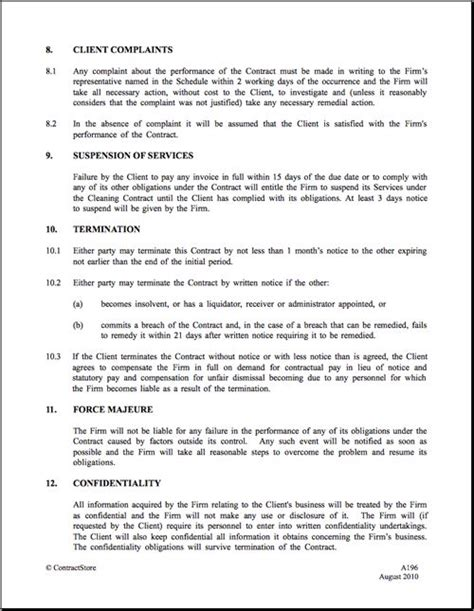 cleaning business contract template 25 best ideas about contract agreement on