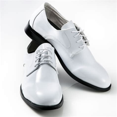 white tuxedo shoes patent leather toe mens