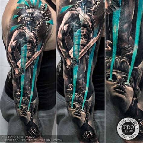 new style colored sleeve tattoo of mystical warrior